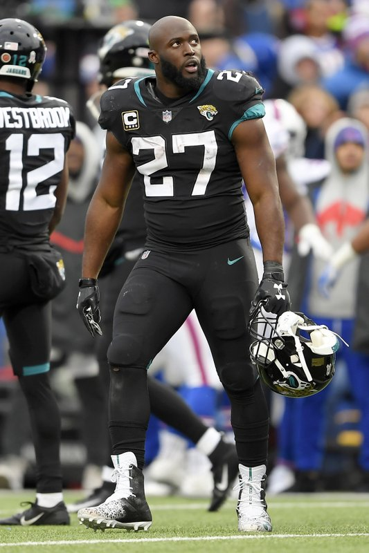 Jacksonville Jaguars running back Leonard Fournette (27) looks on after being ejected after an altercation with Buffalo Bills defensive end Shaq Lawson during the second half of an NFL football game, Sunday, Nov. 25, 2018, in Orchard Park, N.Y. (AP Photo/Adrian Kraus)