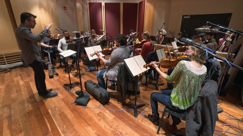 This Nov. 7, 2018, photo provided by the University of Michigan shows the Contemporary Directions Ensemble under the direction of Professor Oriol Sans in Ann Arbor recording