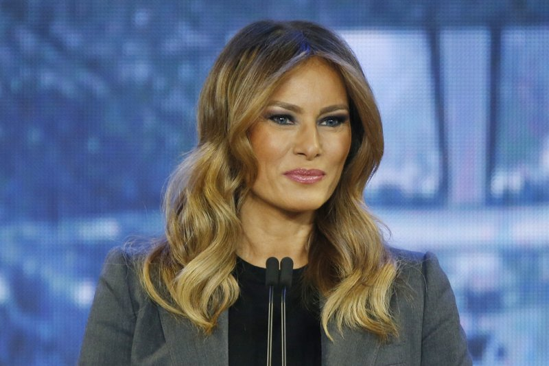 First lady Melania Trump speaks during a town hall meeting on opioid addiction at Liberty University in Lynchburg, Va., Wednesday, Nov. 28, 2018. (AP Photo/Steve Helber)
