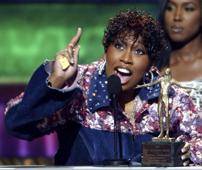 FILE - In this March 20, 2002 file photo, musician Missy Elliott accepts The Michael Jackson Award for Best R&B/Soul or Rap Music Video for