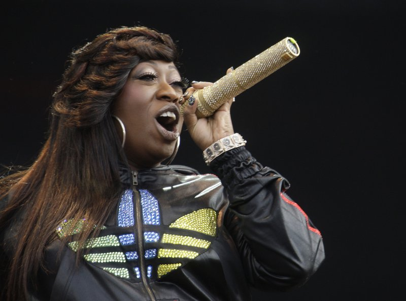 FILE - In this Saturday, July 3, 2010 file photo, Missy Elliot performs onstage at the Wireless Festival in Hyde Park, London. Elliott, one of rap's greatest voices and also a songwriter and producer who has crafted songs for Beyonce and Whitney Houston, is one of the nominees for the 2019 Songwriters Hall of Fame. (AP Photo/Joel Ryan, File)