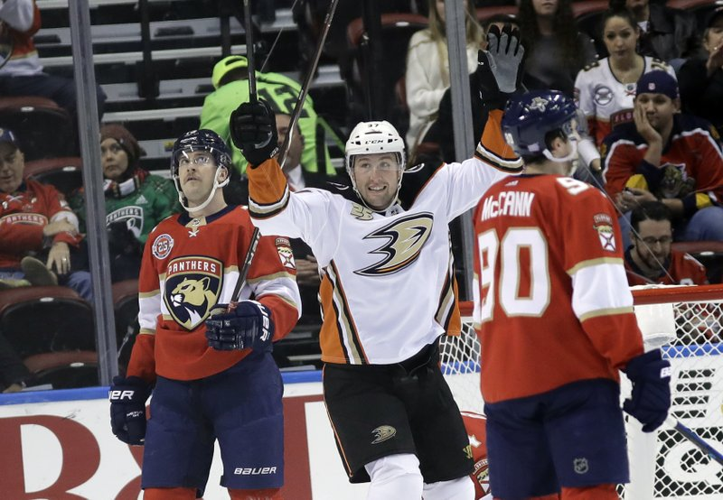 Anaheim Ducks left wing Nick Ritchie celebrates after scoring a goal during the second period of the team's NHL hockey game against the Florida Panthers, Wednesday, Nov. 28, 2018, in Sunrise, Fla. (AP Photo/Lynne Sladky)
