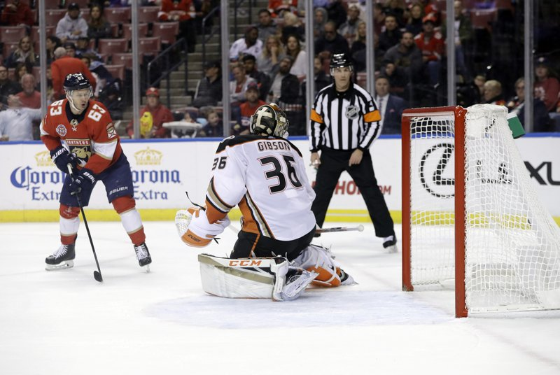 Florida Panthers right wing Evgenii Dadonov (63) scores a goal past Anaheim Ducks goaltender John Gibson (36) during the second period of an NHL hockey game Wednesday, Nov. 28, 2018, in Sunrise, Fla. (AP Photo/Lynne Sladky)