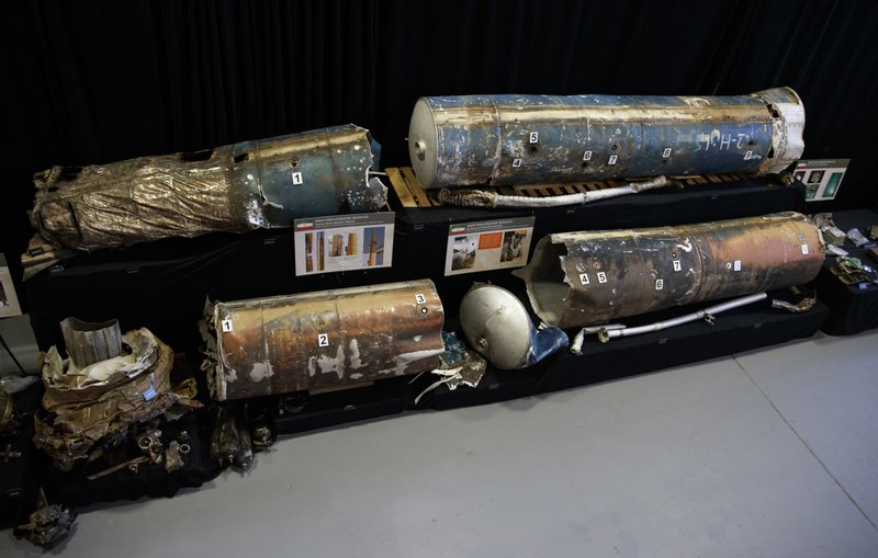 Fragments from Iranian short range ballistic missiles (Qiam) are displayed at the Iranian Materiel Display (IMD) at Joint Base Anacostia-Bolling, in Washington, Thursday Nov. 29, 2018. The Trump administration accused Iran of stepping up violations of a U.N. ban on arms exports by sending rockets and other weaponry to rebels in Afghanistan and Yemen. The presentation displays weapons and fragments of weapons seized in Afghanistan, Bahrain and Yemen that it said are evidence Iran is a