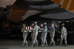 Body of airman killed in Afghanistan arrives back in US