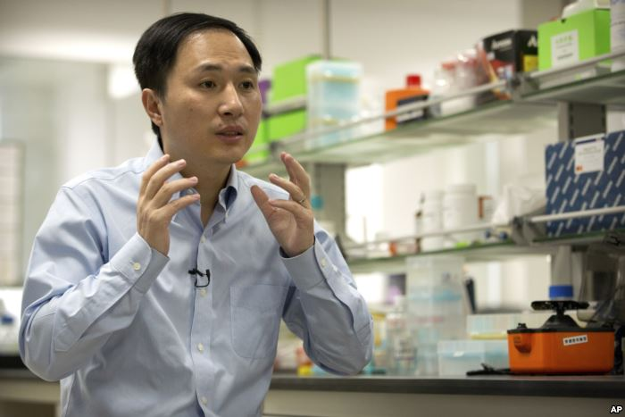 FILE - He Jiankui speaks during an interview at a laboratory in Shenzhen in s