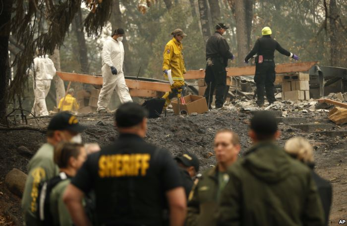 Investigators recover human remains at a home burned in the Camp Fire, Nov. 1