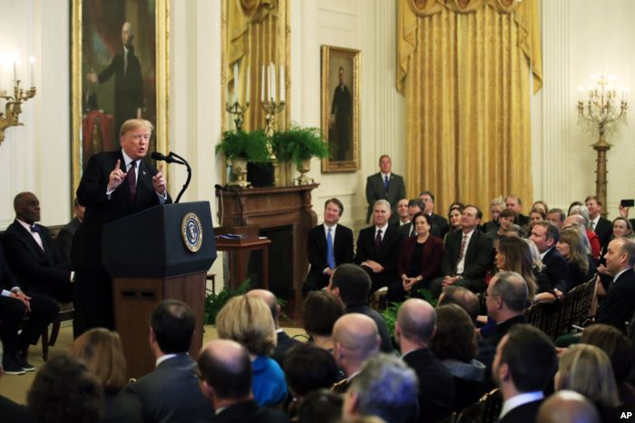 President Donald Trump speaks during a presentation ceremony of the President