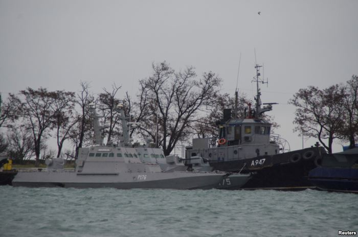 Ukrainian naval ships, which were recently seized by Russia's FSB securit