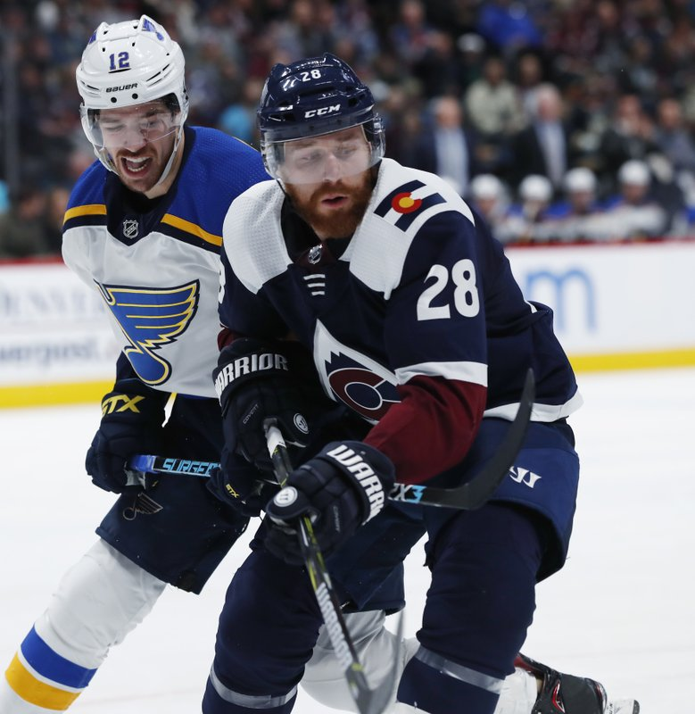 St. Louis Blues left wing Zach Sanford, left, uses his stick to slow down Colorado Avalanche defenseman Ian Cole during the second period of an NHL hockey game Friday, Nov. 30, 2018, in Denver. (AP Photo/David Zalubowski)