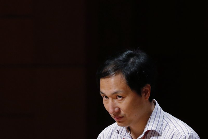 He Jiankui, a Chinese researcher, speaks during the Human Genome Editing Conference in Hong Kong, Wednesday, Nov. 28, 2018. He claims that he helped make the world's first genetically edited babies — twin girls whose DNA he said he altered with a powerful new tool capable of rewriting the very blueprint of life. (AP Photo/Kin Cheung)
