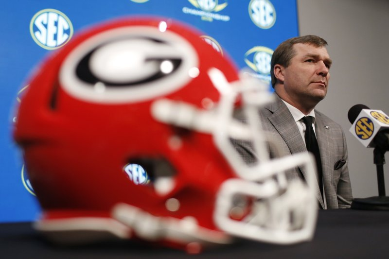 Georgia coach Kirby Smart speaks with the media one day before the Southeastern Conference Championship NCAA college football game against Alabama in Atlanta, Friday, Nov. 30, 2018. (Joshua L. Jones/Athens Banner-Herald via AP)