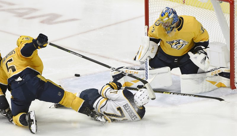 Buffalo Sabres left wing Evan Rodrigues (71) slides on the ice after getting a shot off against Nashville Predators goaltender Pekka Rinne (35), of Finland, during the second period of an NHL hockey game Monday, Dec. 3, 2018, in Nashville, Tenn. Predators defenseman Dan Hamhuis (5) was penalized for tripping. (AP Photo/Mark Zaleski)