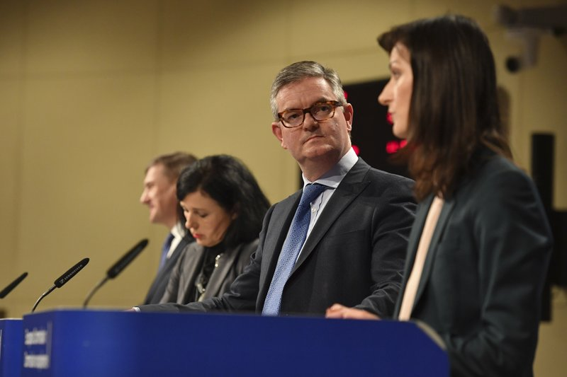 From left, European Commissioner for Digital Single Market Andrus Ansip, European Commissioner for Justice Vera Jourova, European Commissioner for Security Union Julian King and European Commissioner for Digital Economy Marija Gabriel participate in a media conference at EU headquarters in Brussels, Wednesday Dec. 5, 2018. The European Commission on Wednesday reported on an Action Plan to counter disinformation and the progress achieved so far. (AP Photo/Geert Vanden Wijngaert)