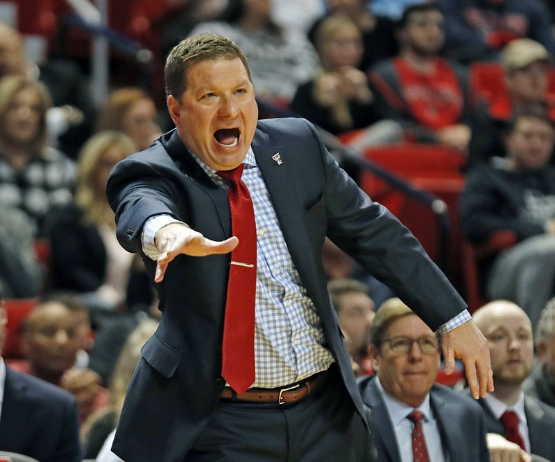 Texas Tech coach Chris Beard yells out to his players on the court during the first half of an NCAA college basketball game against Arkansas-Pine Bluff, Wednesday, Dec. 5, 2018, in Lubbock, Texas. (AP Photo/Brad Tollefson)