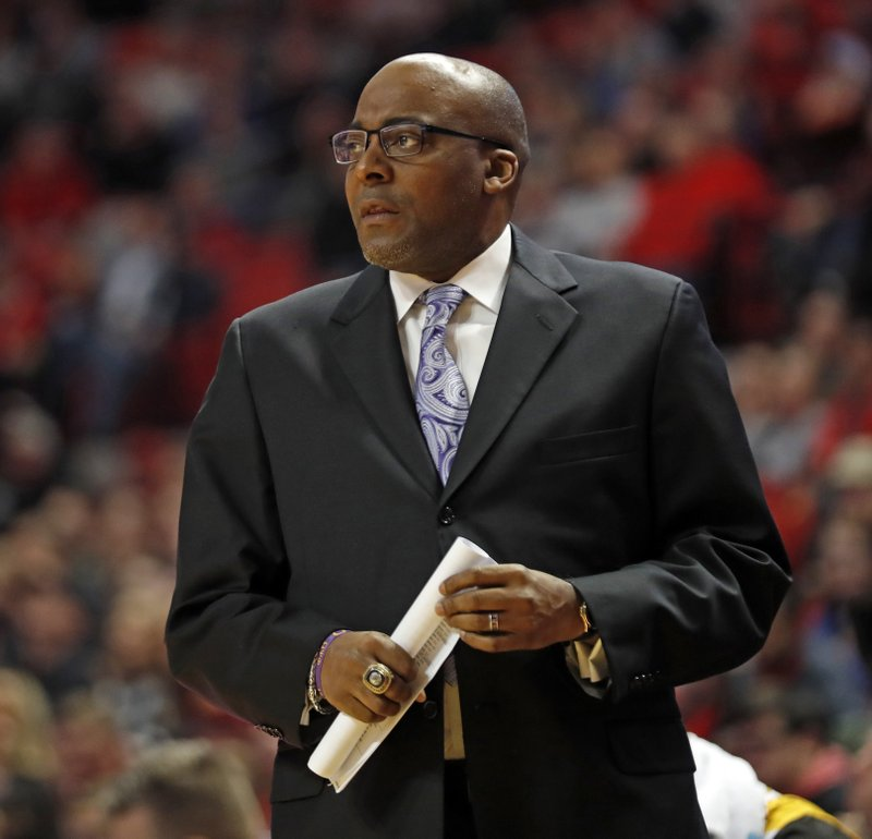Arkansas-Pine Bluff coach George Ivory watches his players on the court during first half of an NCAA college basketball game against Texas Tech, Wednesday, Dec. 5, 2018, in Lubbock, Texas. (AP Photo/Brad Tollefson)