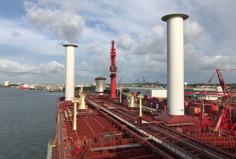 Finnish startup company Norsepower installed its rotor sail technology on the Maersk Pelican tanker, Aug. 29, 2018, at Rotterdam, Netherlands, in the first such installation on a tanker as the shipping industry tries new solutions in an effort to cut greenhouse gas emissions.  The Maersk Pelican oil tanker is testing Norsepower's 30 meter (98 foot) deck-mounted spinning columns, which convert wind into thrust based on an idea first floated nearly a century ago.  Transport's contribution to earth-warming emissions are the subject of investigations as negotiators gather in Katowice, Poland, for U.N. COP24 climate talks. (Casper Hariot/Maersk Tankers via AP)