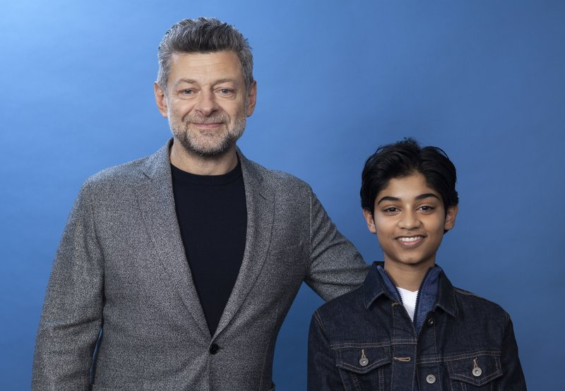 In this Nov. 28, 2018 photo, Andy Serkis, left, and Rohan Chand pose for a portrait at the Four Seasons Hotel in Los Angeles to promote their film