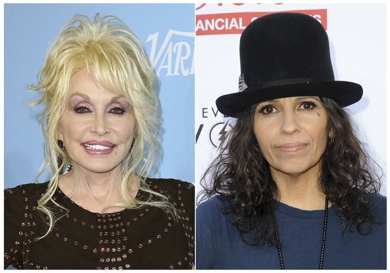 This combination photo shows Dolly Parton at the 69th Primetime Emmy Awards Variety and Women in Film pre-Emmy celebration in Los Angeles on Sept. (AP Photo)