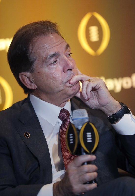Alabama coach Nick Saban listens during a news conference Thursday, Dec. 6, 2018, in Atlanta. Alabama is one of the four teams in the College Football Playoff. (AP Photo/John Bazemore)