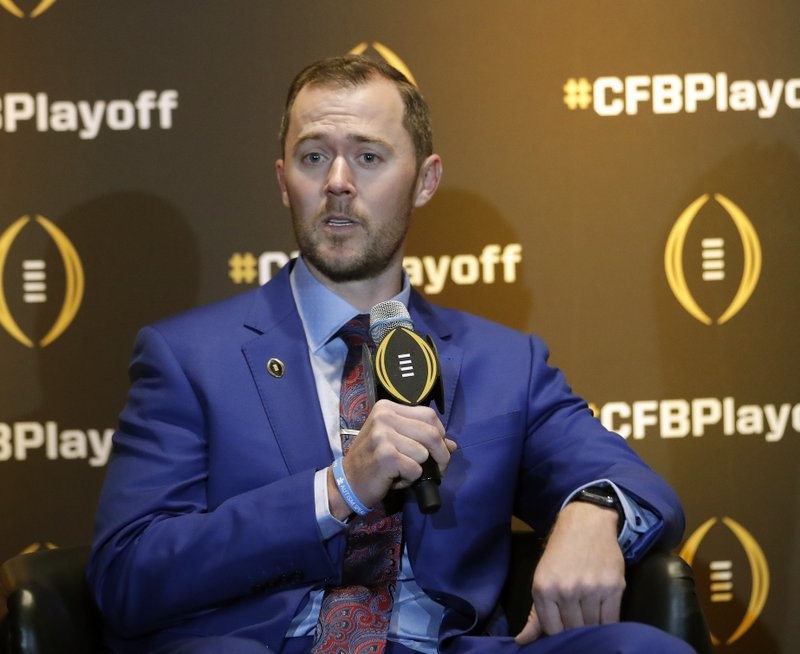 Oklahoma coach Lincoln Riley speaks during a news conference Thursday, Dec. 6, 2018, in Atlanta. Oklahoma is one of the four teams in the College Football Playoff. (AP Photo/John Bazemore)