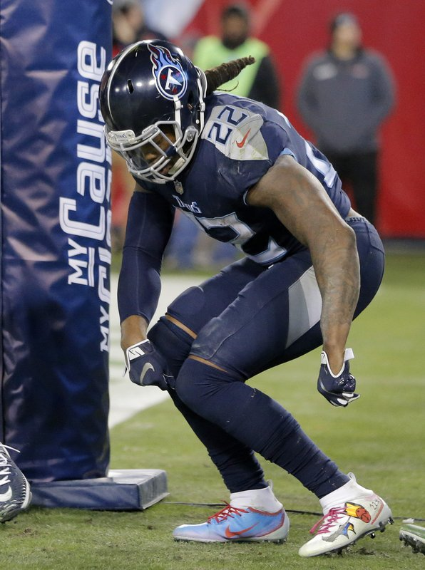 Tennessee Titans running back Derrick Henry (22) dances in the end zone after a touchdown against the Jacksonville Jaguars during the second half of an NFL football game, Thursday, Dec. 6, 2018, in Nashville, Tenn. (AP Photo/James Kenney)