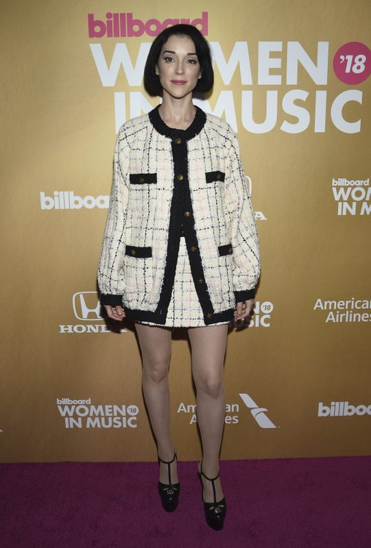 St. Vincent attends the 13th annual Billboard Women in Music event at Pier 36 on Thursday, Dec. 6, 2018, in New York. (Photo by Evan Agostini/Invision/AP)