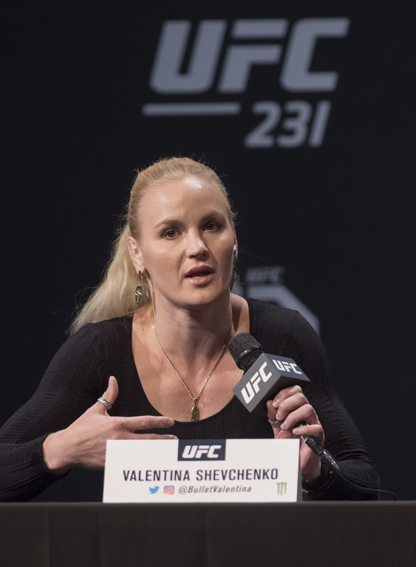 UFC featherweight Valentina Shevchenko speaks at a press conference, Wednesday, Dec. 5, 2018 in Toronto. UFC 231 takes place on Saturday, Dec. 8, 2018. (Nathan Denette/The Canadian Press via AP)