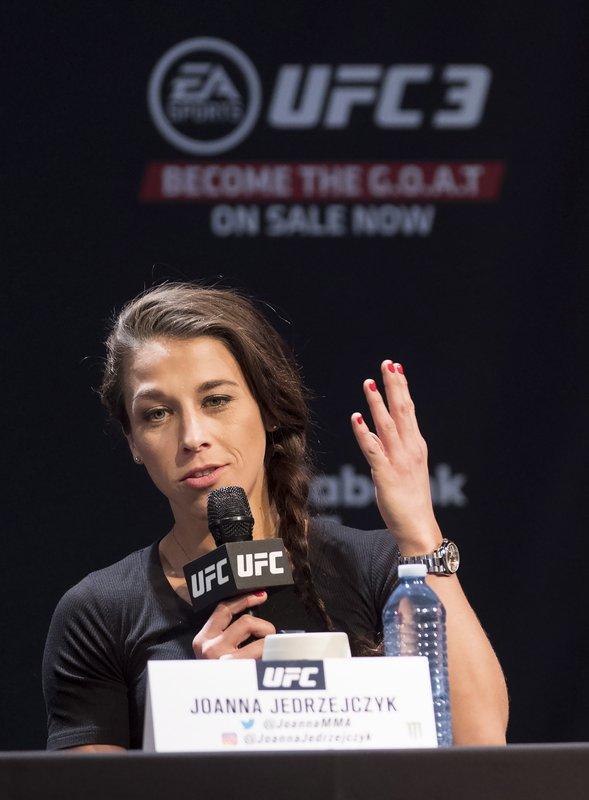UFC women's strawweight Joanna Jedrzejczyk speaks at a press conference, Wednesday, Dec. 5, 2018 in Toronto. UFC 231 takes place on Saturday, Dec. 8, 2018. (Nathan Denette/The Canadian Press via AP)