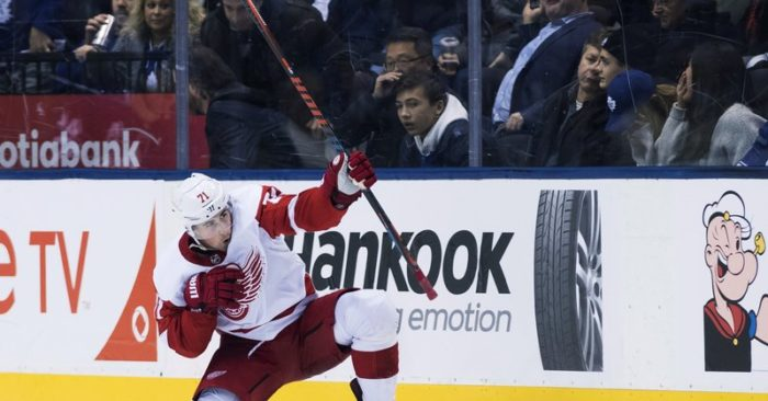 Detroit Red Wings center Dylan Larkin (71) reacts after scoring in overtime NHL  against the Toronto Maple Leafs in Toronto on Thursday 40abb5b79