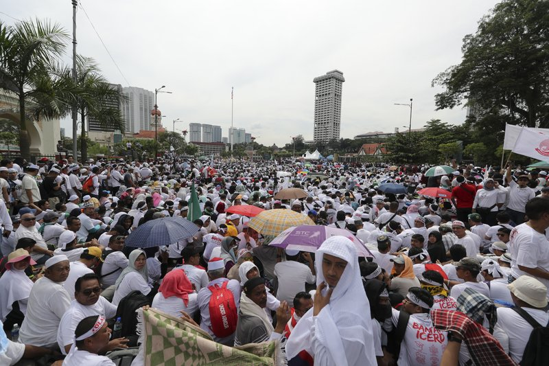Thousands of protesters gather for a rally to celebrate the government's move to withdraw plans to ratify a U. (AP Photo/Vincent Thian)