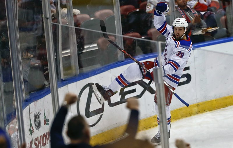 New York Rangers left wing Matt Beleskey celebrates after scoring a goal against Florida Panthers goaltender Roberto Luongo during the second period of an NHL hockey game on Saturday, Dec. (AP Photo/Brynn Anderson)