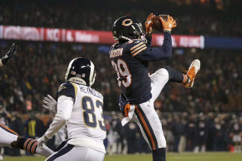 Chicago Bears safety Eddie Jackson (39) intercepts a pass intended for Los Angeles Rams wide receiver Josh Reynolds (83) during the first half of an NFL football game Sunday, Dec. (AP Photo/David Banks)