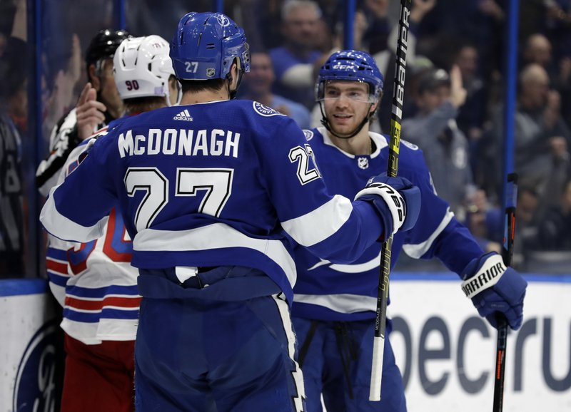 Tampa Bay Lightning defenseman Ryan McDonagh (27) celebrates his goal against the New York Rangers with center Brayden Point (21) during the second period of an NHL hockey game Monday, Dec. (AP Photo/Chris O'Meara)