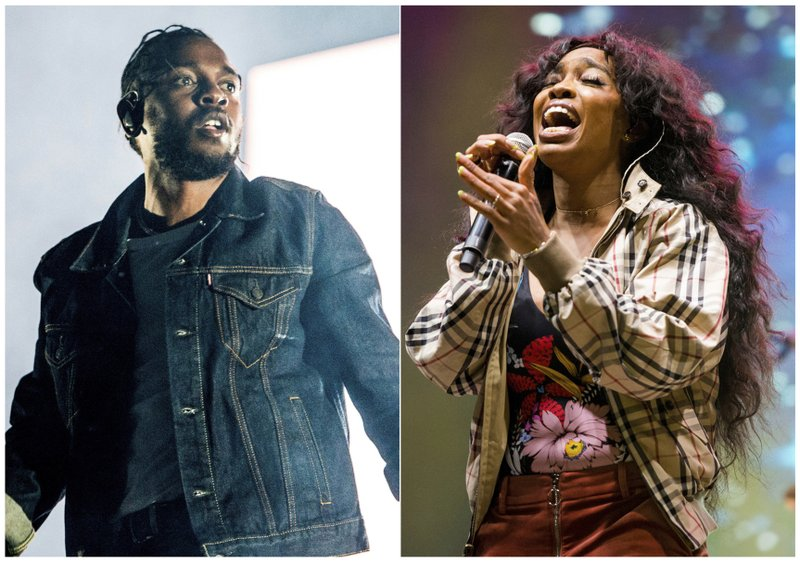 This combination photo shows Kendrick Lamar, left, and SZA, whose song