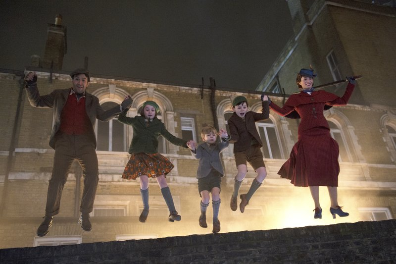 This image released by Disney shows, from left, Lin-Manuel Miranda, Pixie Davies, Joel Dawson, Nathanael Saleh and Emily Blunt in