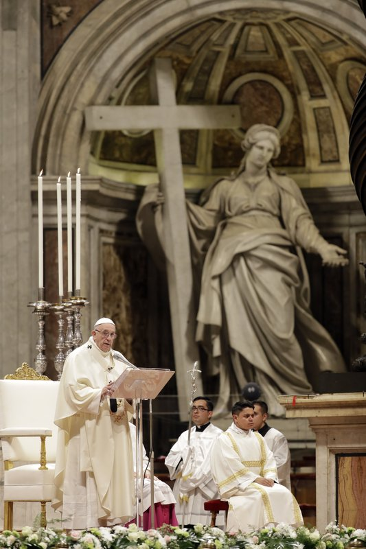 Pope Francis celebrates Mass on the occasion of the feast of Our Lady of Guadalupe, in St. Peter's Basilica at the Vatican, Wednesday, Dec. (AP Photo/Andrew Medichini)