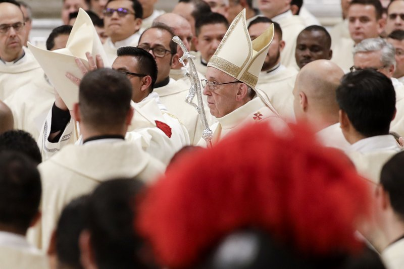 Pope Francis arrives to celebrate Mass on the occasion of the feast of Our Lady of Guadalupe, in St. Peter's Basilica at the Vatican, Wednesday, Dec. (AP Photo/Andrew Medichini)
