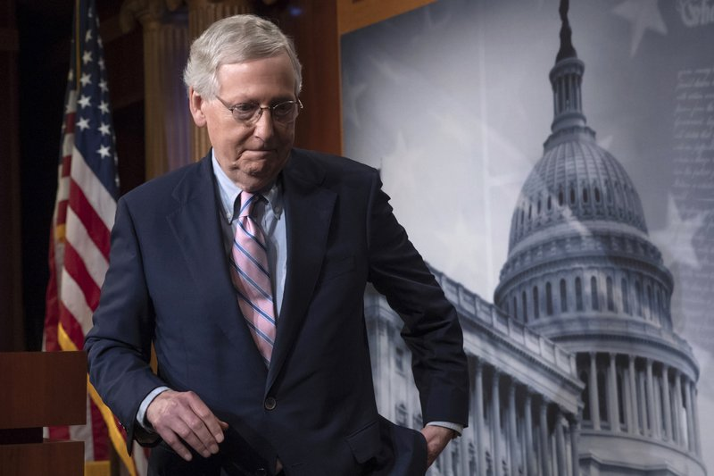 FILE -  In this Oct. 6, 2018 file photo, Senate Majority Leader Mitch McConnell, R-Ky., finishes speaking to reporters at the Capitol in Washington. (AP Photo/J. Scott Applewhite)
