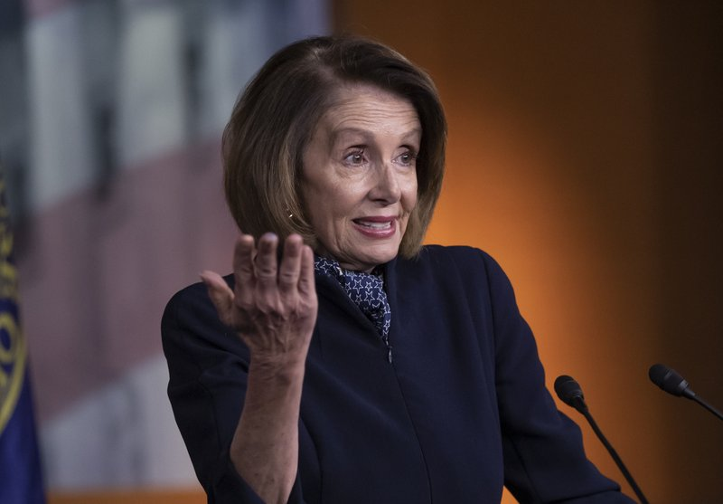 In this Dec. 13, 2018 photo, House Democratic leader Nancy Pelosi of California holds a news conference at the Capitol in Washington. (AP Photo/J. Scott Applewhite)