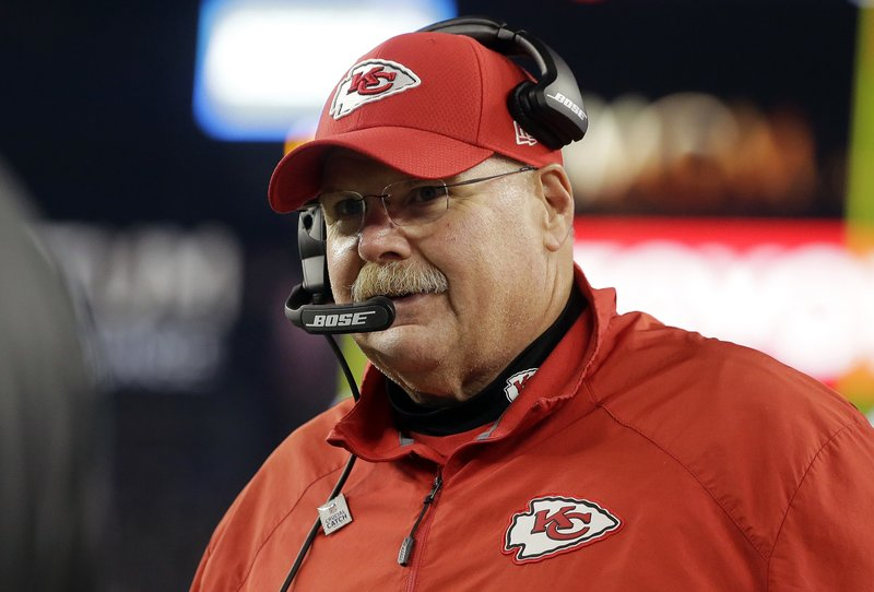 FILE - In this  Sunday, Oct. 14, 2018 file photo, Kansas City Chiefs head coach Andy Reid watches from the sideline during the first half of an NFL football game against the New England Patriots in Foxborough, Mass. (AP Photo/Steven Senne, File)