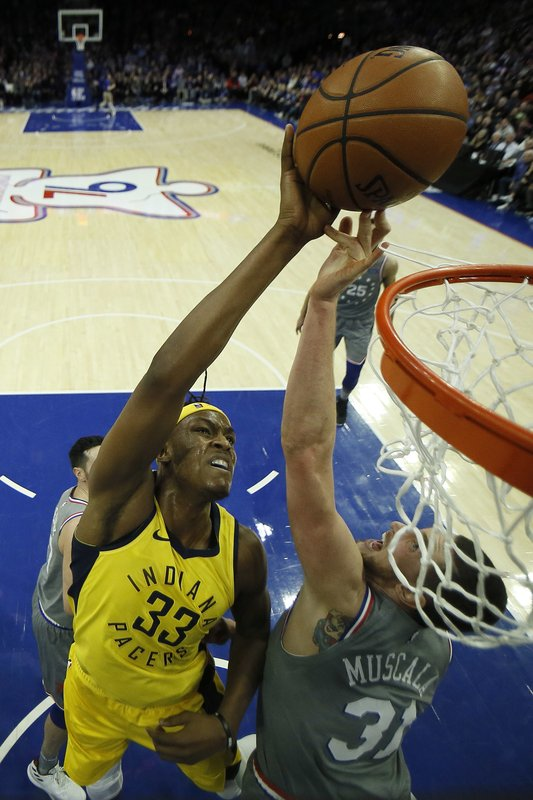 Indiana Pacers' Myles Turner (33) tries to get a shot past Philadelphia 76ers' Mike Muscala (31) during the second half of an NBA basketball game, Friday, Dec. (AP Photo/Matt Slocum)