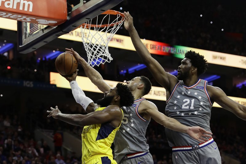 Indiana Pacers' Tyreke Evans, left, tries to get a shot past Philadelphia 76ers' Ben Simmons, center, and Joel Embiid during the first half of an NBA basketball game, Friday, Dec. (AP Photo/Matt Slocum)