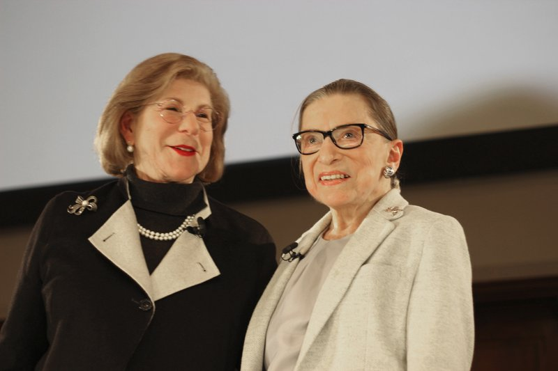 NPR's Nina Totenberg, left, and U.S. Supreme Court Justice Ruth Bader Ginsburg stand onstage at the New York Academy of Medicine after doing a question and answer session as part of the Museum of the City of New York's David Berg Distinguished Speakers Series Saturday, Dec. (AP Photo/Rebecca Gibian)