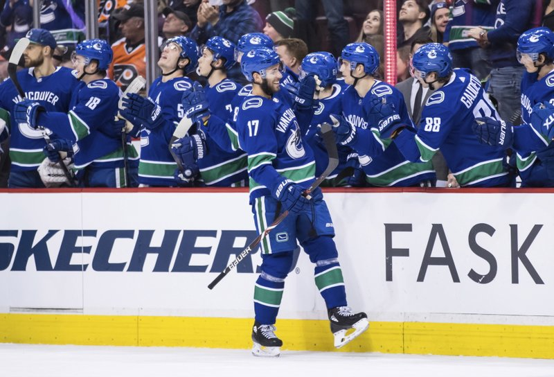Vancouver Canucks' Josh Leivo celebrates his goal against the Philadelphia Flyers during the first period of an NHL hockey game in Vancouver, British Columbia, on Saturday, Dec. (Darryl Dyck/The Canadian Press via AP)