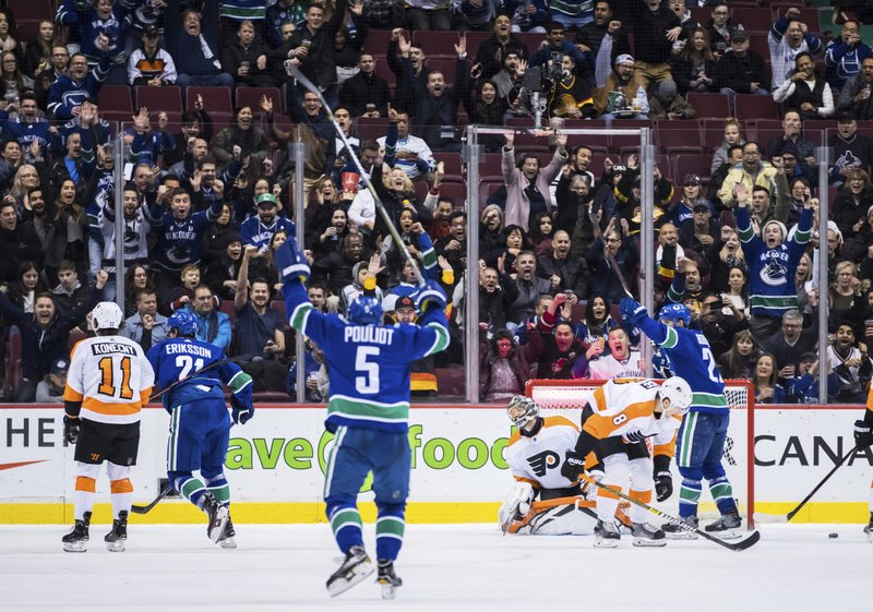 Vancouver Canucks' Loui Eriksson (21), of Sweden, Derrick Pouliot (5) and Antoine Roussel, right, of France, celebrate Eriksson's goal against Philadelphia Flyers goalie Anthony Stolarz as Travis Konecny (11) and Robert Hagg (8), of Sweden, look on during the first period of an NHL hockey game in Vancouver, British Columbia, on Saturday Dec. (Darryl Dyck/The Canadian Press via AP)