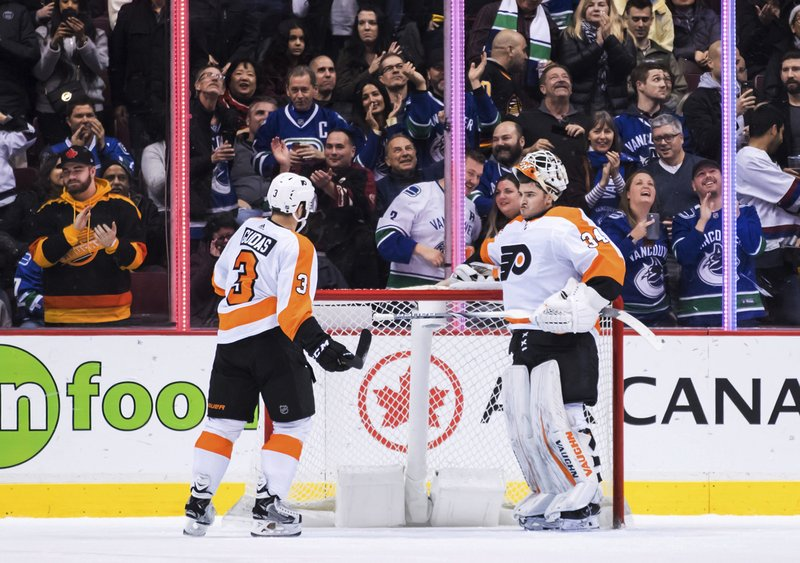 Philadelphia Flyers' Radko Gudas, left, of the Czech Republic, and goalie Alex Lyon look at each other after Vancouver Canucks' Josh Leivo scored during the first period of an NHL hockey game in Vancouver, British Columbia, on Saturday, Dec. (Darryl Dyck/The Canadian Press via AP)