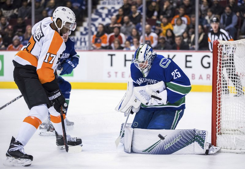 Vancouver Canucks goalie Jacob Markstrom, right, of Sweden, makes a save as Philadelphia Flyers' Wayne Simmonds watches during the first period of an NHL hockey game in Vancouver, Saturday, Dec. (Darryl Dyck/The Canadian Press via AP)