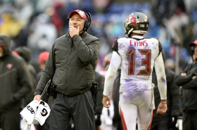 Tampa Bay Buccaneers head coach Dirk Koetter stands on the field in the second half of an NFL football game against the Baltimore Ravens, Sunday, Dec. (AP Photo/Gail Burton)