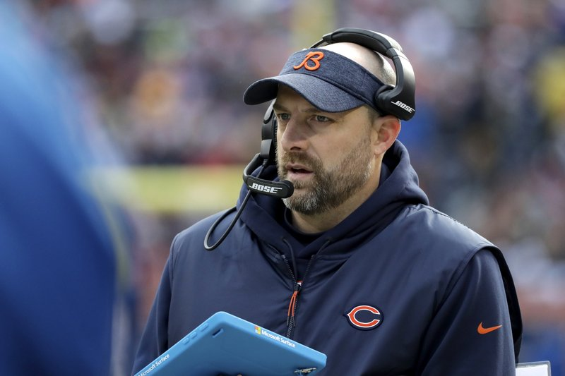 Chicago Bears head coach Matt Nagy watches the action from the sidelines during the first half of an NFL football game against the Green Bay Packers Sunday, Dec. (AP Photo/Nam Y. Huh)
